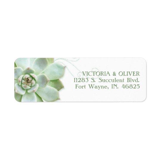 Adresse succulente simple de mariage de cactus étiquette d'adresse retour