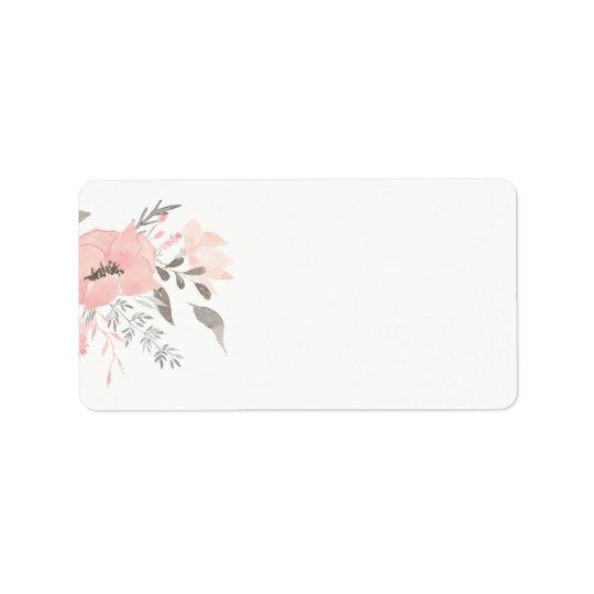Adresse vide florale du géranium rose | étiquette d'adresse