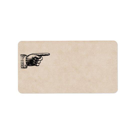 Adresse vide vintage drôle de la main | étiquette d'adresse