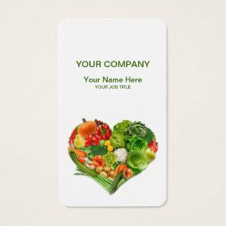 Affaires de coeur de fruits et légumes cartes de visite
