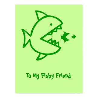 Affaires de poisson - vert cartes postales