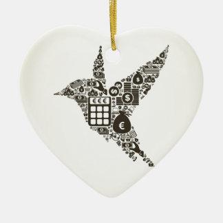 Affaires d'oiseau ornement cœur en céramique