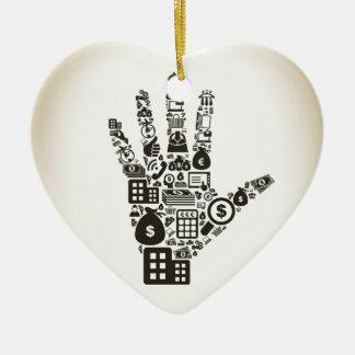 Affaires un hand2 ornement cœur en céramique