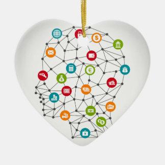 Affaires un head7 ornement cœur en céramique