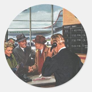 Affaires vintages, les gens au compteur de billet sticker rond