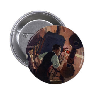 Affaires vintages, projectionniste de salle de badge rond 5 cm