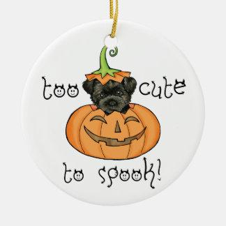 Affenpinscher de Halloween Ornement Rond En Céramique