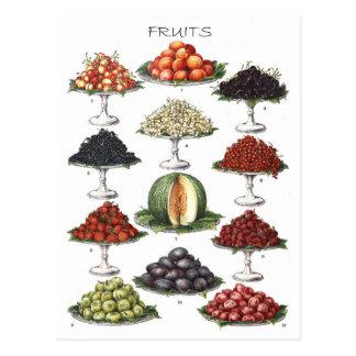 Affichage de divers fruits sur des plateaux carte postale