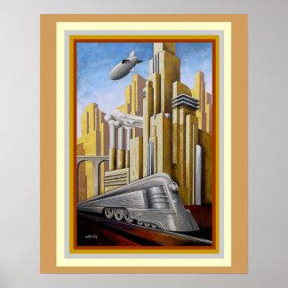 Affiche 16 x 20 de thème de métropole d'art déco