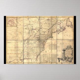 Affiche 1750 de l'Amérique de carte de Mitchell