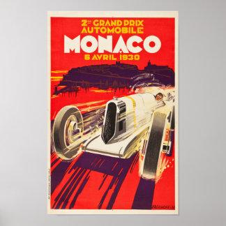 Affiche 1930 du Monaco Grand prix de cru Poster