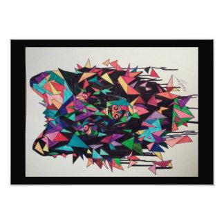 Affiche abstraite de loup impression photographique