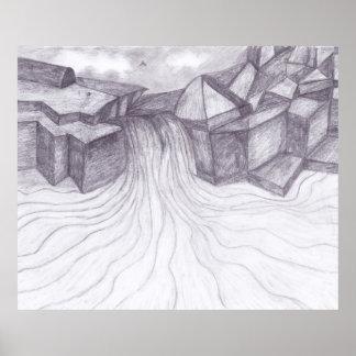 Affiche abstraite de paysage