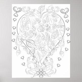 affiche adulte de coloration de dessin de coeur