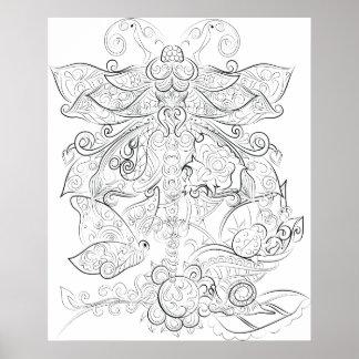 Affiche adulte de coloration de dessin de mouche