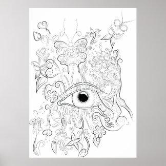 Affiche adulte de coloration de dessin d'oeil