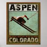 Affiche avec la copie fraîche de ski d'Aspen