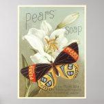 Affiche avec la copie vintage de savon de poires