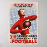 Affiche avec la copie vintage du football de Copa
