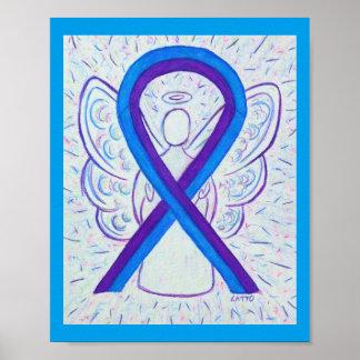 Affiche bleue et pourpre d'ange de ruban de poster