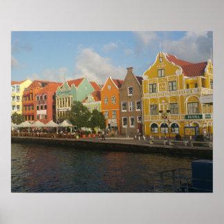 Affiche colorée de Willemstad Curaçao