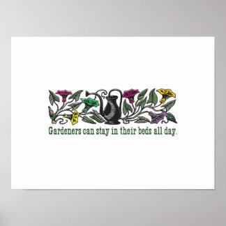 Affiche colorée humoristique de jardiniers