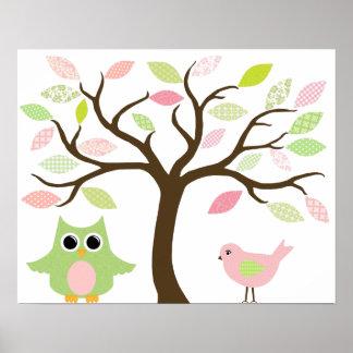 Affiche d'arbre, de hibou et d'oiseau pour la pièc