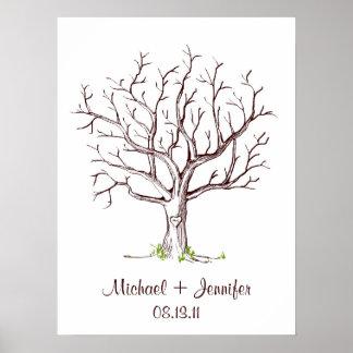 Affiche d'arbre d'empreinte digitale de mariage
