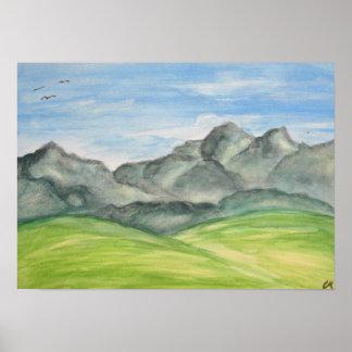 Affiche d'art de vallée de montagne poster