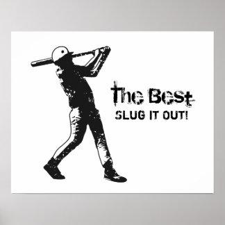 Affiche de blanc de noir de joueur de baseball de