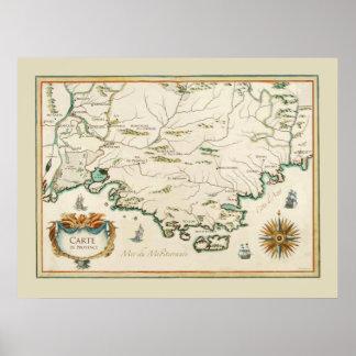 Affiche de carte de la Provence