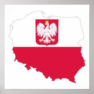 Affiche de carte d'emblème de la Pologne