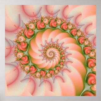 Affiche de corail en spirale de coquillages de poster