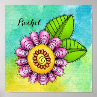 Affiche de fleur de griffonnage d'aquarelle de poster
