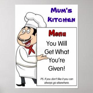 Affiche de la cuisine de la maman humoristique