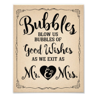 Affiche de mariage de signe de bulle de mariage photo d'art