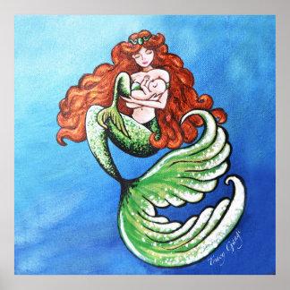 Affiche de matte de la maman 24x24 de sirène