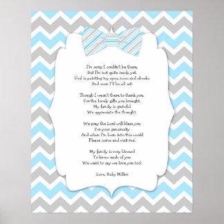 Affiche de Merci de baby shower de cravate d'arc