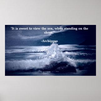 Affiche de motivation avec le paysage marin