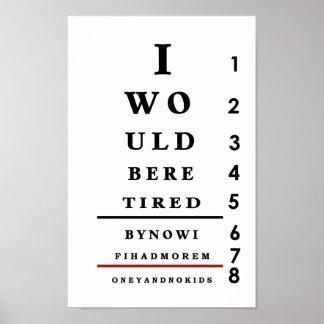 Affiche de mur de diagramme d oeil d amusement
