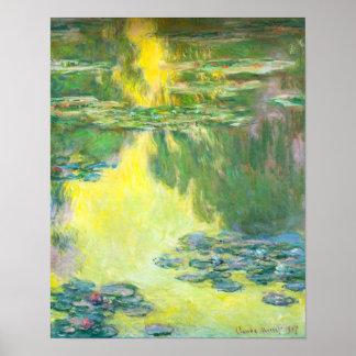 Affiche de nénuphars de coucher du soleil de Monet