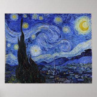"""Affiche """"de nuit étoilée"""" de Vincent van Gogh"""