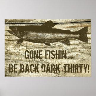 Affiche de pêche allée humoristique d art de thème