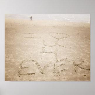 Affiche de plage de ressacs je t'aime