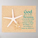 Affiche de prière de sérénité d'étoiles de mer