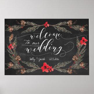 Affiche de signe de tableau d'accueil de mariage