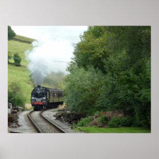 Affiche de train de machine à vapeur