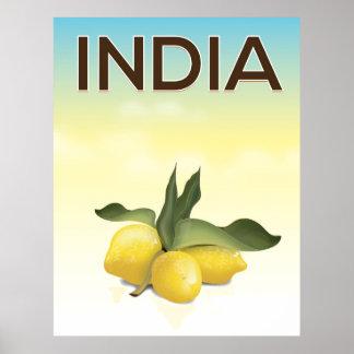 Affiche de voyage de citron de l'Inde Poster