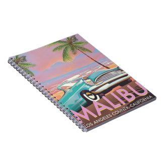 Affiche de voyage de Malibu, Los Angeles, la Carnet