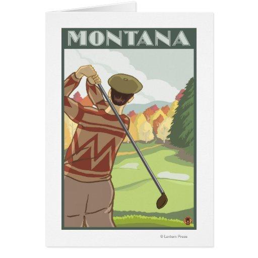 Affiche de voyage de SceneMontanaVintage de golfeu Carte De Vœux